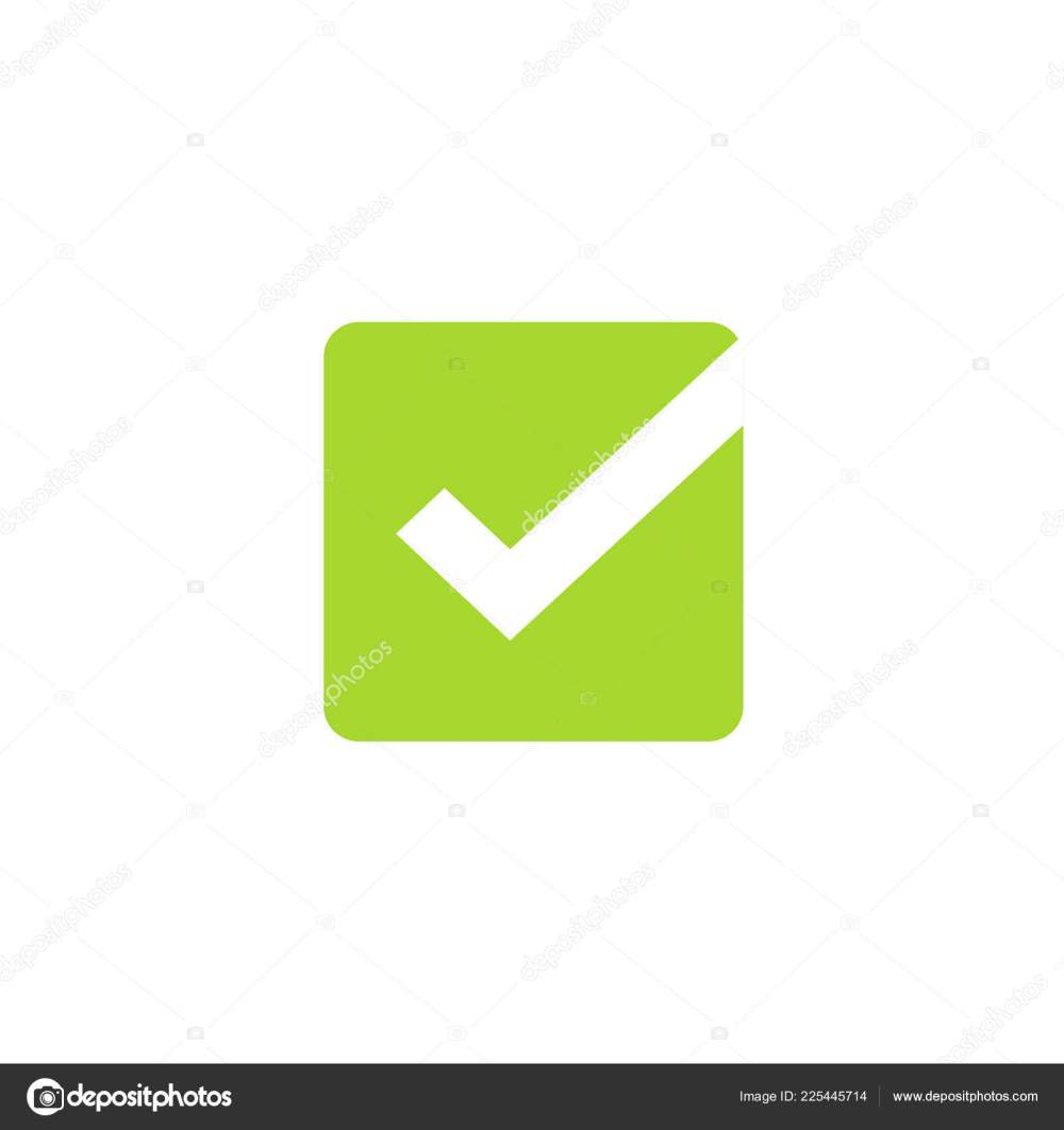 medium resolution of tick icon vector symbol green square checkmark isolated on white background checked icon or