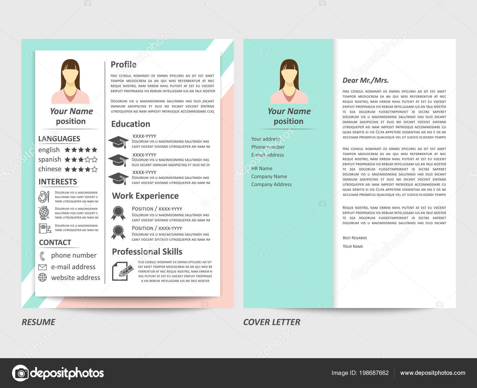 Female Resume And Cover Letter Template — Stock Vector