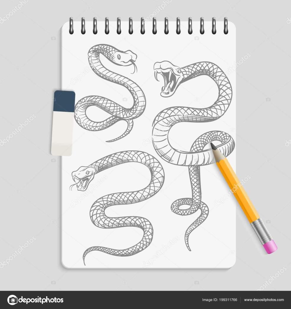 руки Drawn змей на странице Realisic ноутбука с карандаш и ластик