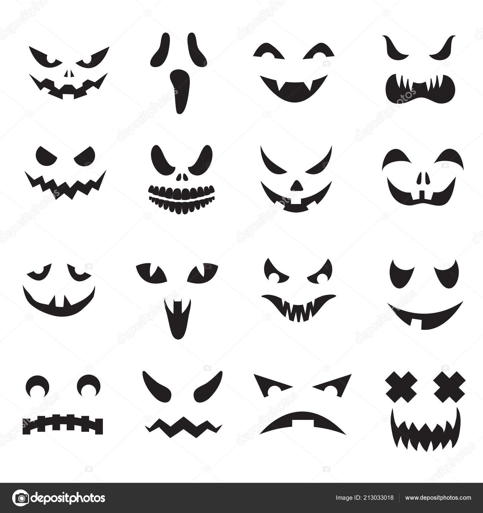 Caras De Calabaza Halloween Jack O Lantern Cara Siluetas