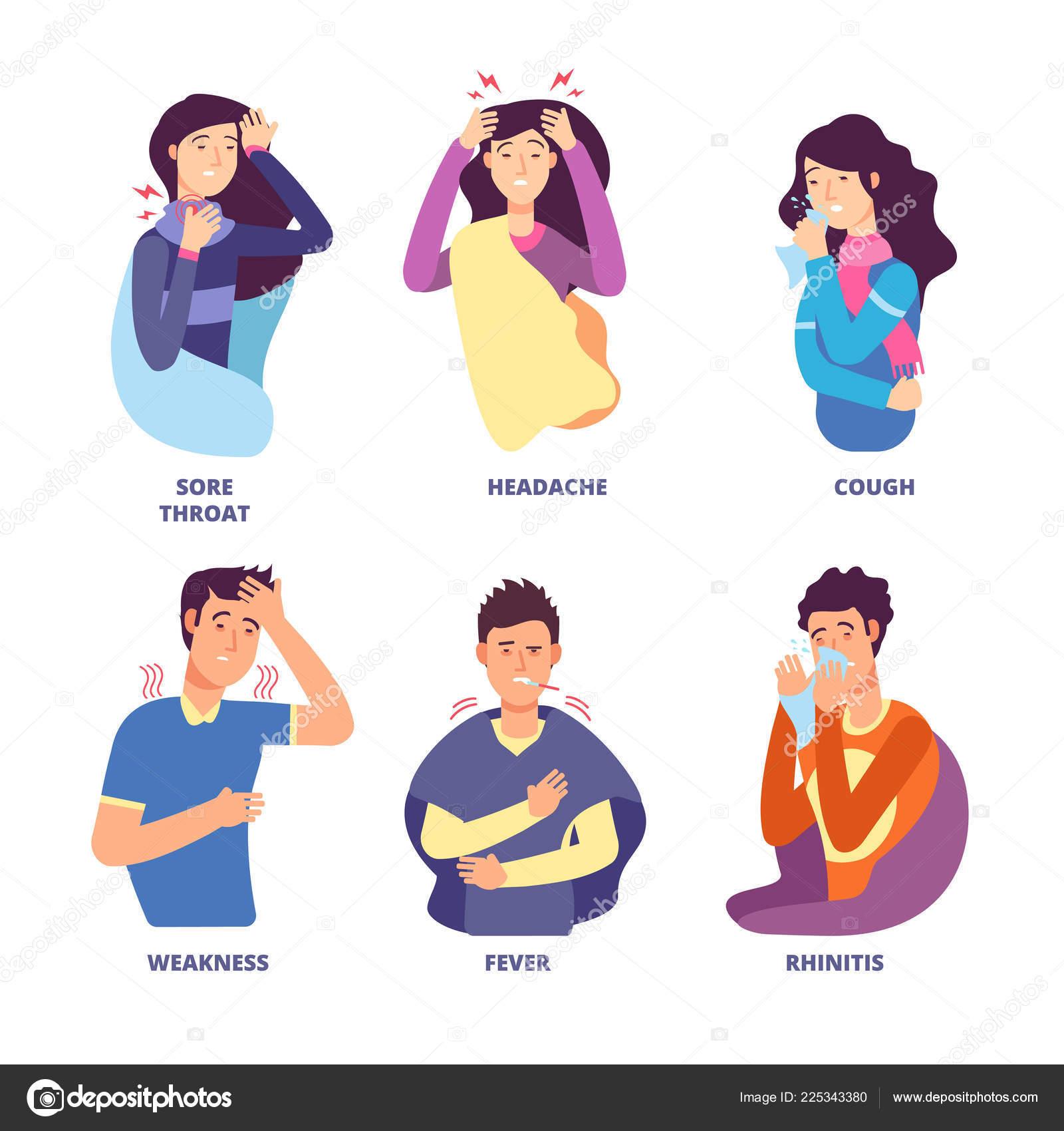Sintomas De Gripe Pessoas Demonstrando Doenca Fria Febre Tosse Catarro Calafrios Tonturas