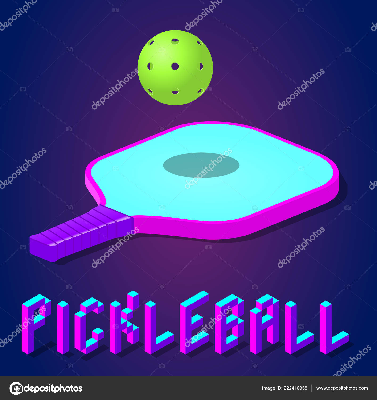 hight resolution of racket or paddle and ball for pickleball game in modern bright color isometric icon logo or label clipart stock vector illustration vector by