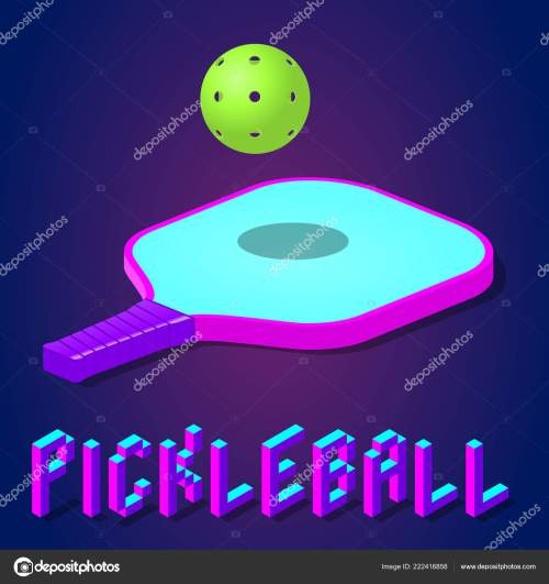 small resolution of racket or paddle and ball for pickleball game in modern bright color isometric icon logo or label clipart stock vector illustration vector by