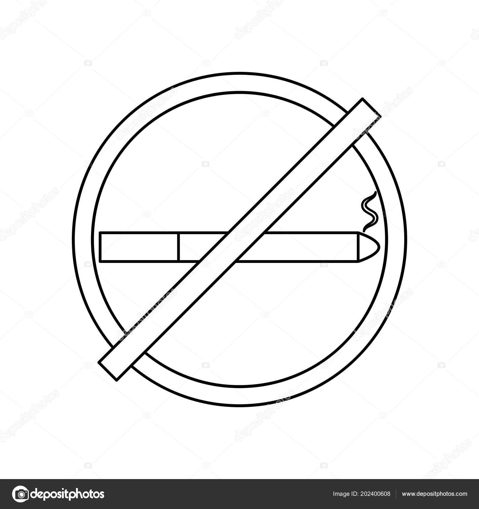Smoking Sign White Background Cigarette Icon Filter Smoke