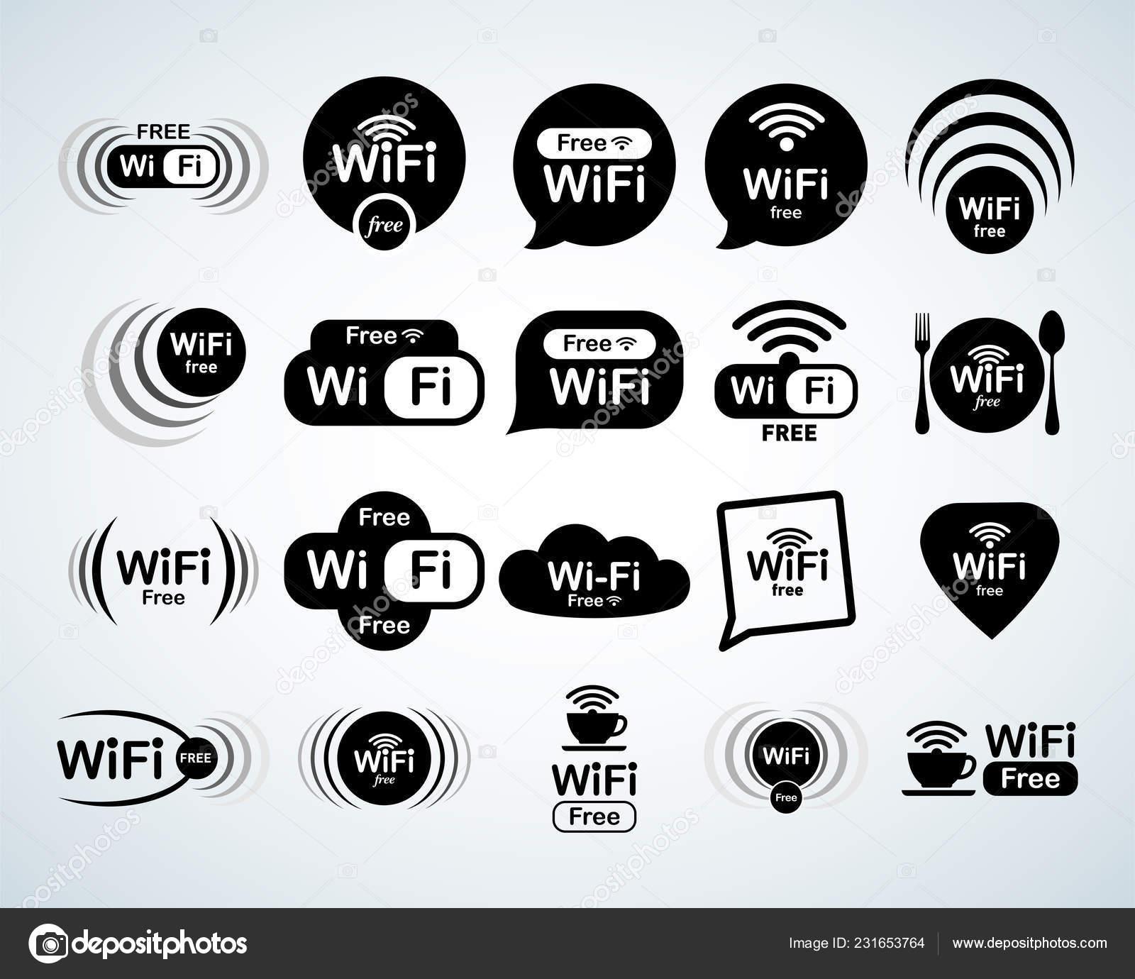 free wifi logo set