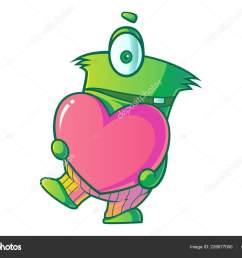 vector cartoon illustration cute green single eye monster heart isolated stock vector [ 1600 x 1167 Pixel ]
