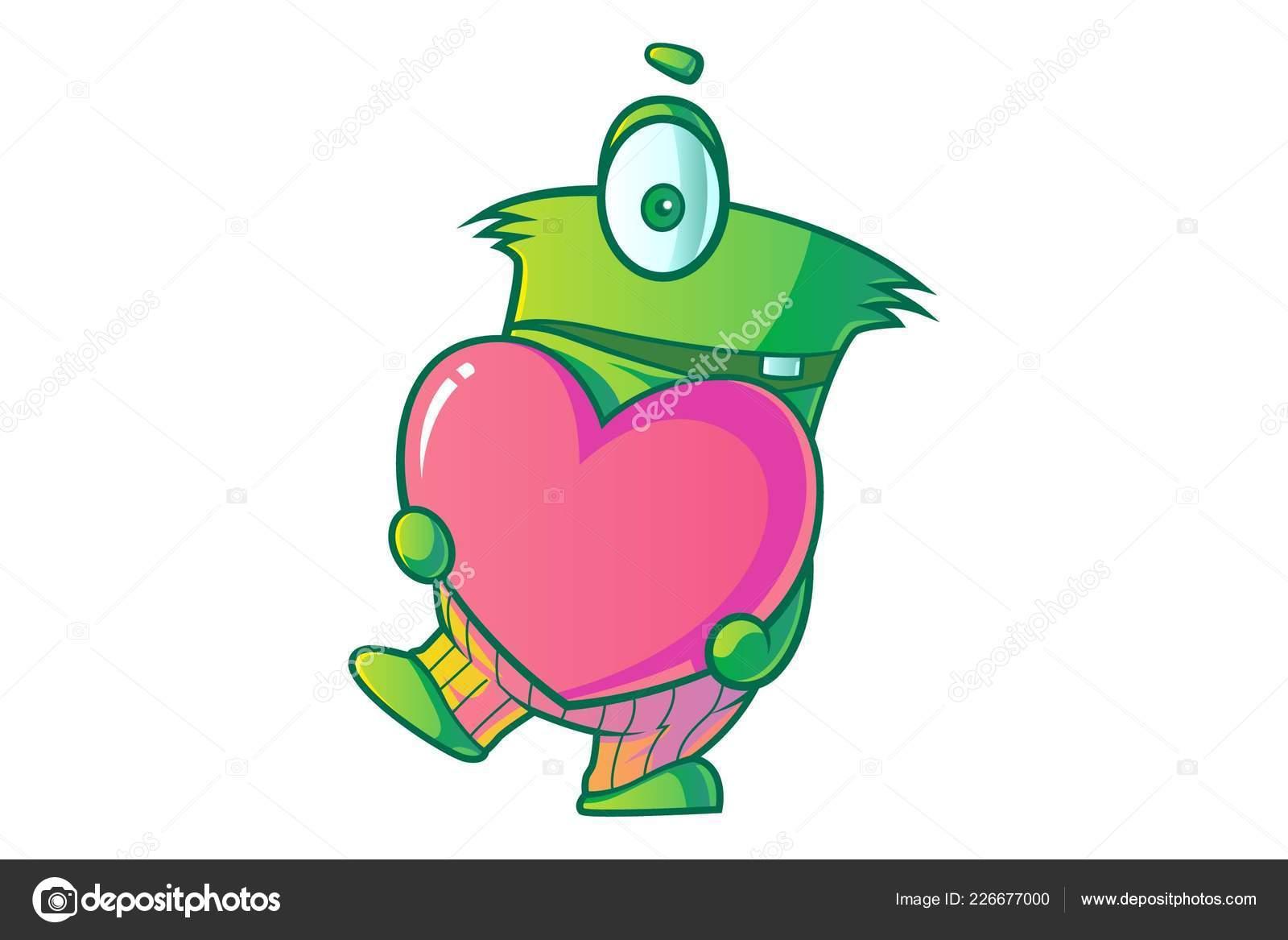 hight resolution of vector cartoon illustration cute green single eye monster heart isolated stock vector
