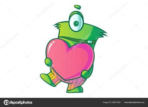 small resolution of vector cartoon illustration cute green single eye monster heart isolated stock vector
