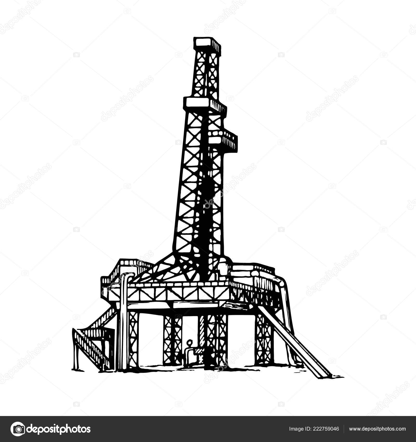Land Oil Drilling Complex Also Called Oil Rig Sketch