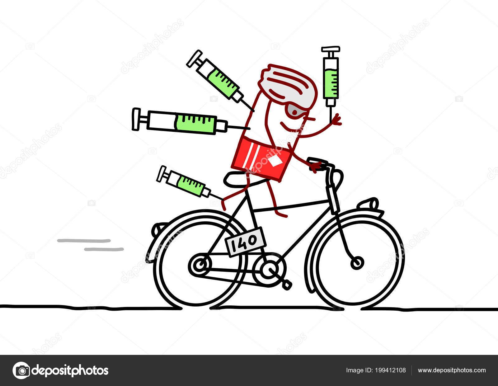 Caricatura Ciclista Campeon Dopaje Imagen Vectorial De