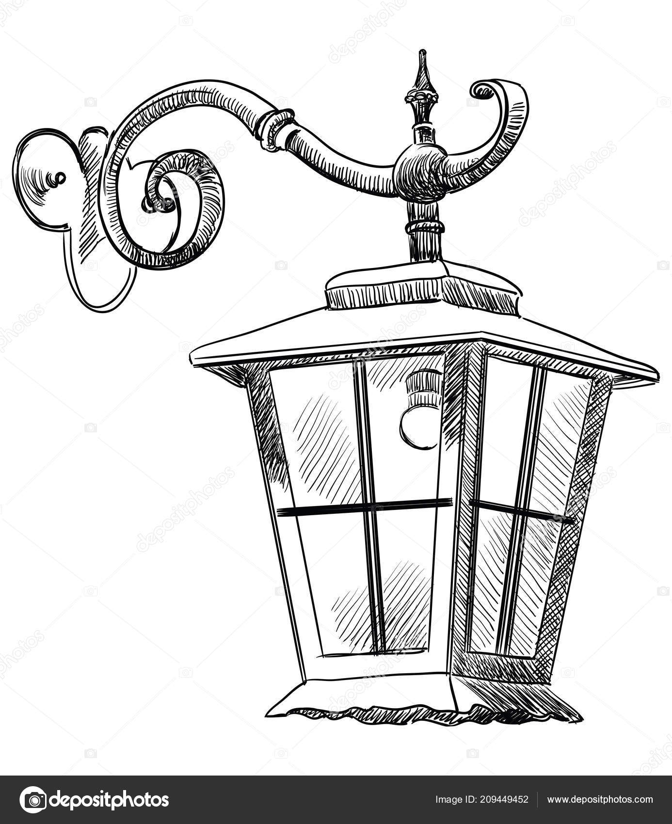 Hand Drawing Old Hanging Lantern Vector Monochrome Illustration Black Color Stock Vector Alinart 209449452