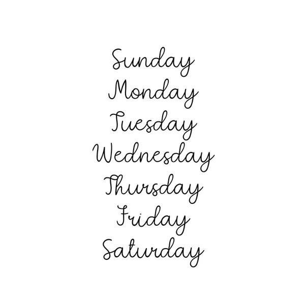 Lettering Days of Week Sunday, Monday, Tuesday, Wednesday