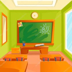 ✅ Cartoon Color School Classroom Interior Inside Concept Flat Design Style Include of Furniture and Chalkboard Vector illustration premium vector in Adobe Illustrator ai ai format Encapsulated PostScript eps eps format