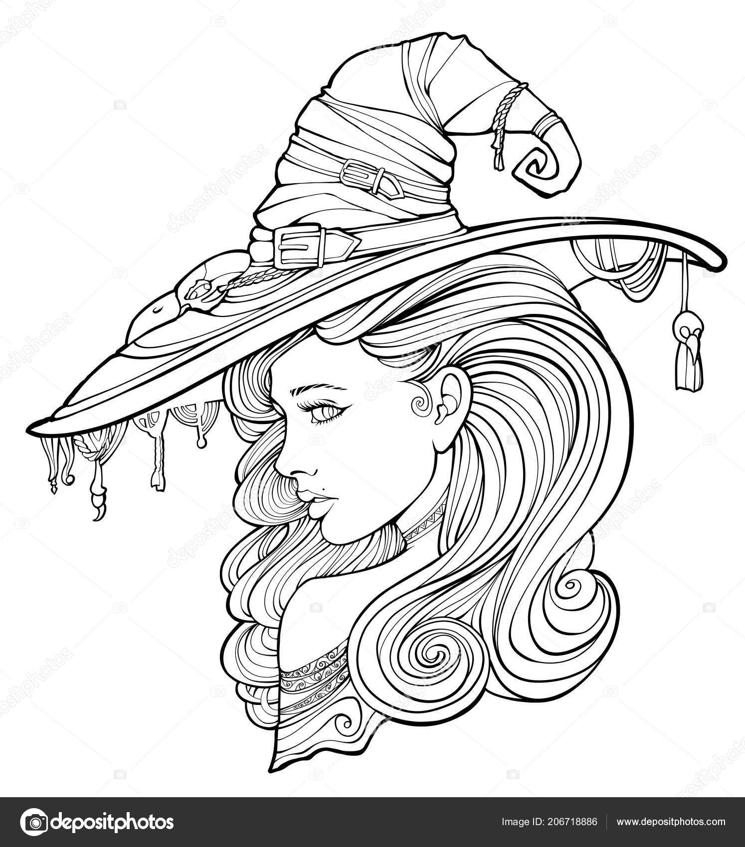 Malvorlagen Für Erwachsene Umgeben Von Geister Hexe
