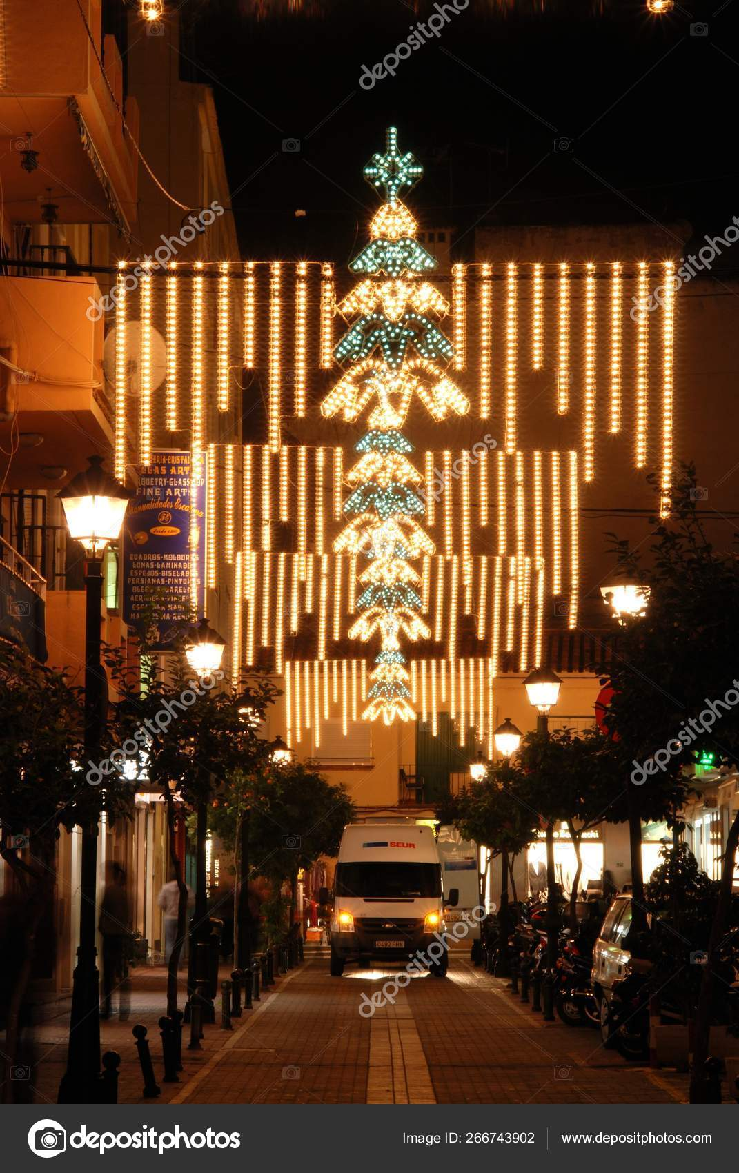 Christmas Decorations Along A Town Centre Street At Night Fuengirola Spain Stock Editorial Photo C Arenaphotouk 266743902