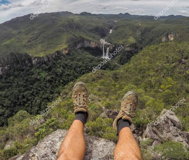 Selfie Picture Of My Own Feet With Hiking Shoes With Beautiful Background Of Cerrado Natural Landscape In Mirante Da Janela Chapada Dos Veadeiros Goias