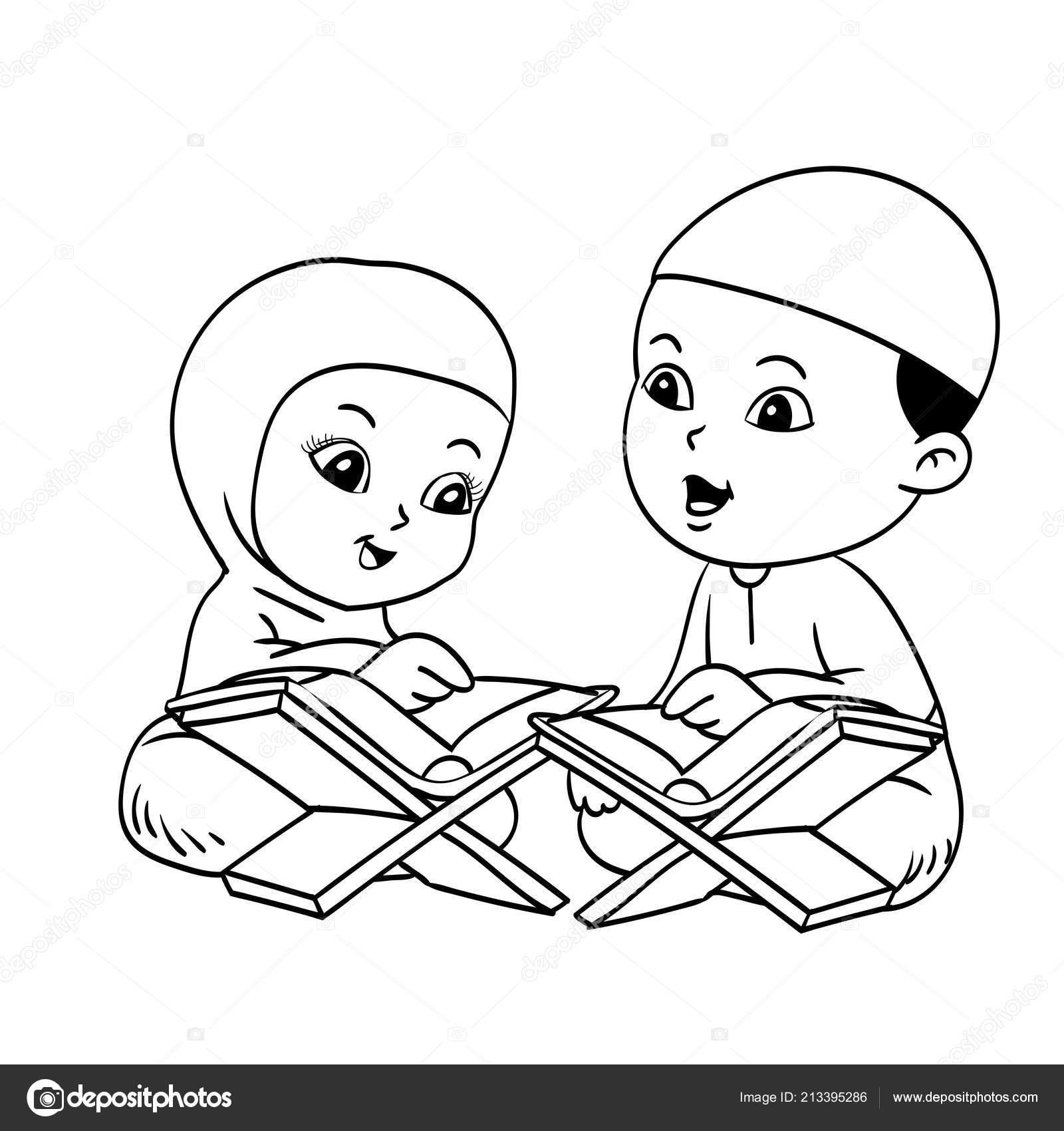 Muslim Kids Learnig Quran Hand Drawn Coloring Book