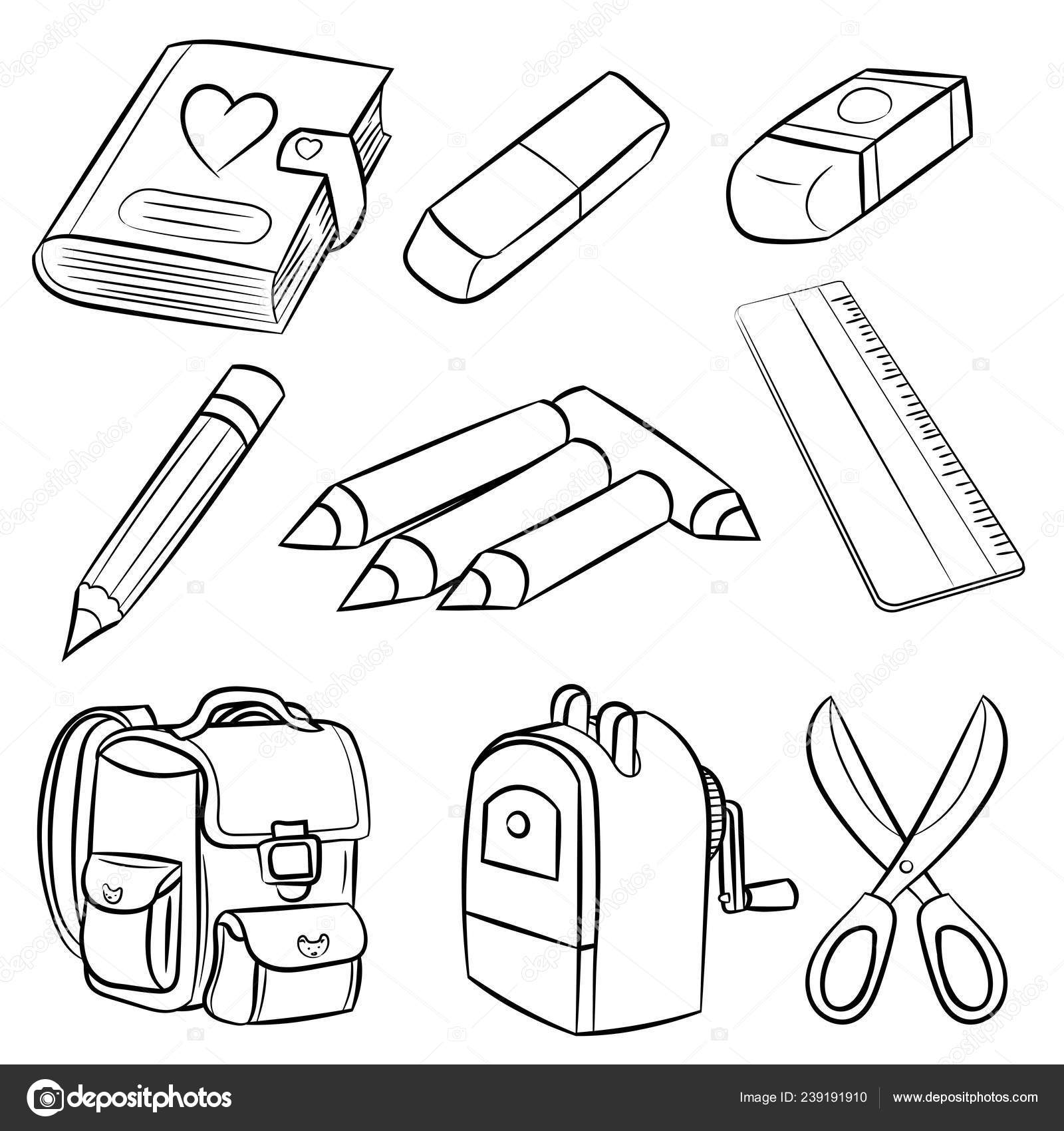 Welcome Back School Classroom Supplies Set Coloring Book
