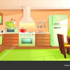 Hood Kitchen Rooms To Go Islands 现代化的厨房内饰配有家具 设计室 带引擎盖 炉灶 微波炉 水槽和冰箱