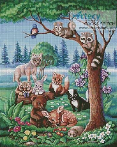 Forest Friends Cross Stitch Pattern animals