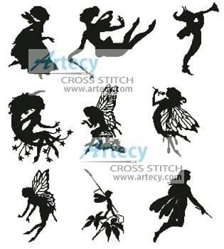Little Fairy Silhouettes Cross Stitch Pattern fantasy