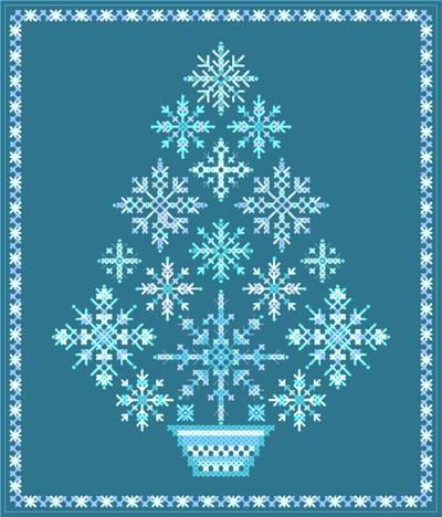 Snowflake Tree Cross Stitch Pattern snowflakes