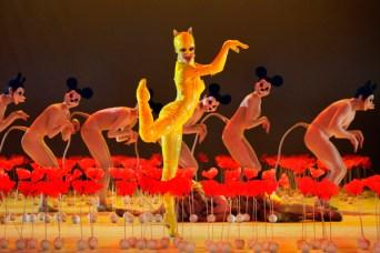 Und Iana Balova als 'Gelbe Katze' auf der Bühne, inmitten der Mohnblumen.