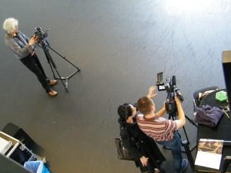 Zwei Kamerateams waren in der Probe. Sie produzieren Portraits über Vladimir und Elisa.