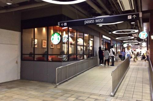 JR札幌駅 西口改札に近い 札幌パセオ店 スタバの前にあるスロープ