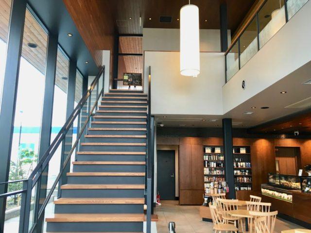 リージョナルランドマークストアの釧路鶴見橋 スタバの店内2階へ行く階段
