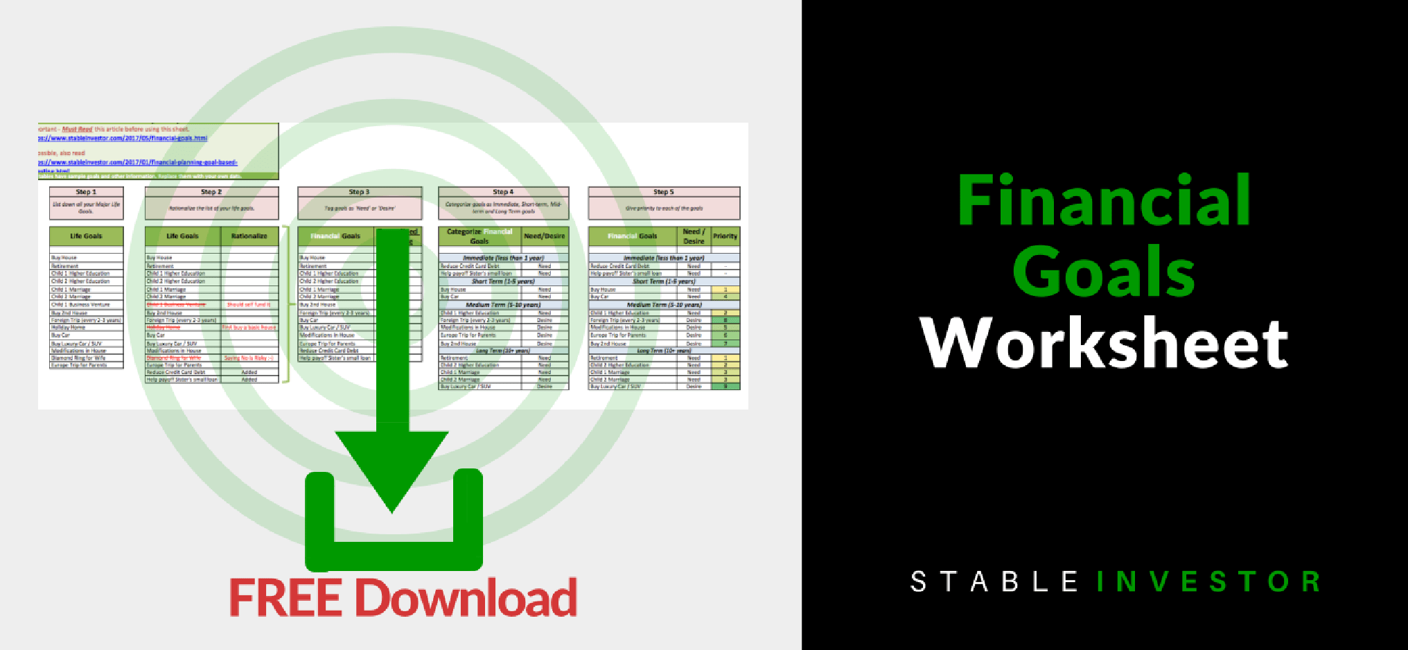 Financial Goals Worksheet Download Stable Investor
