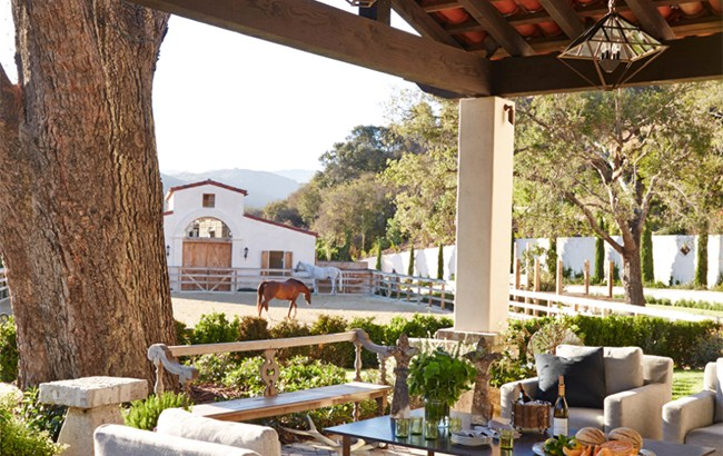 Beautiful outdoor seating with a view of the horses