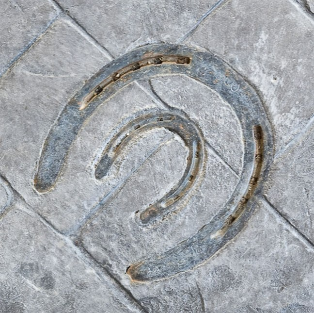 Horseshoes in the cement