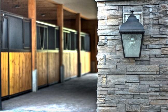 Stone work outside the barn
