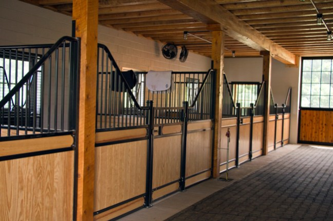 new stalls inside the bank barn