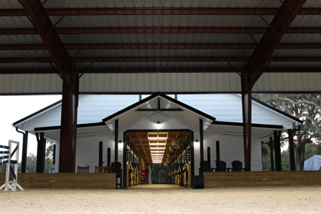 looking into the barn from the riding arena