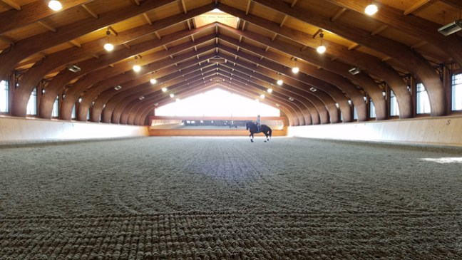 indoor riding arena with mirror and raised ceiling