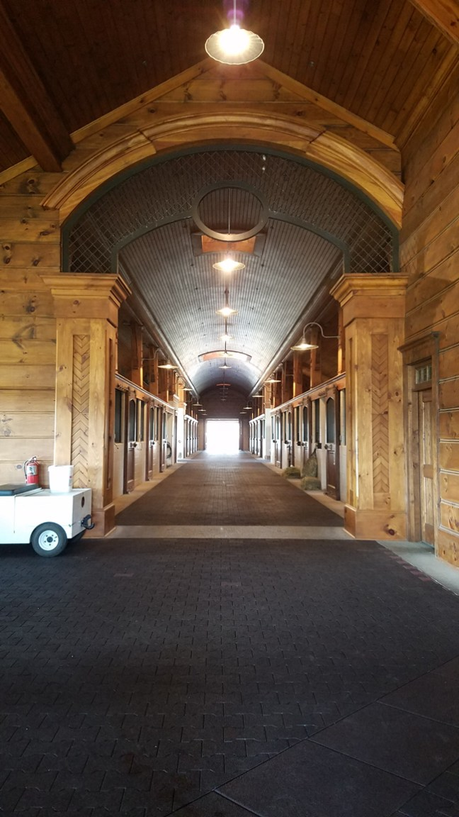 looking down the barn aisle