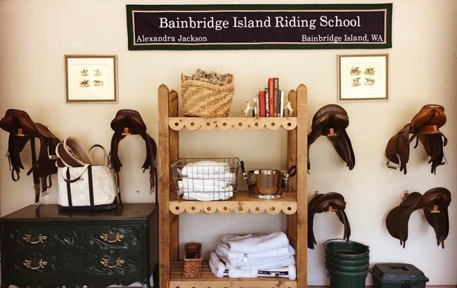 clean and organized tack room at Bainbridge Island Riding School