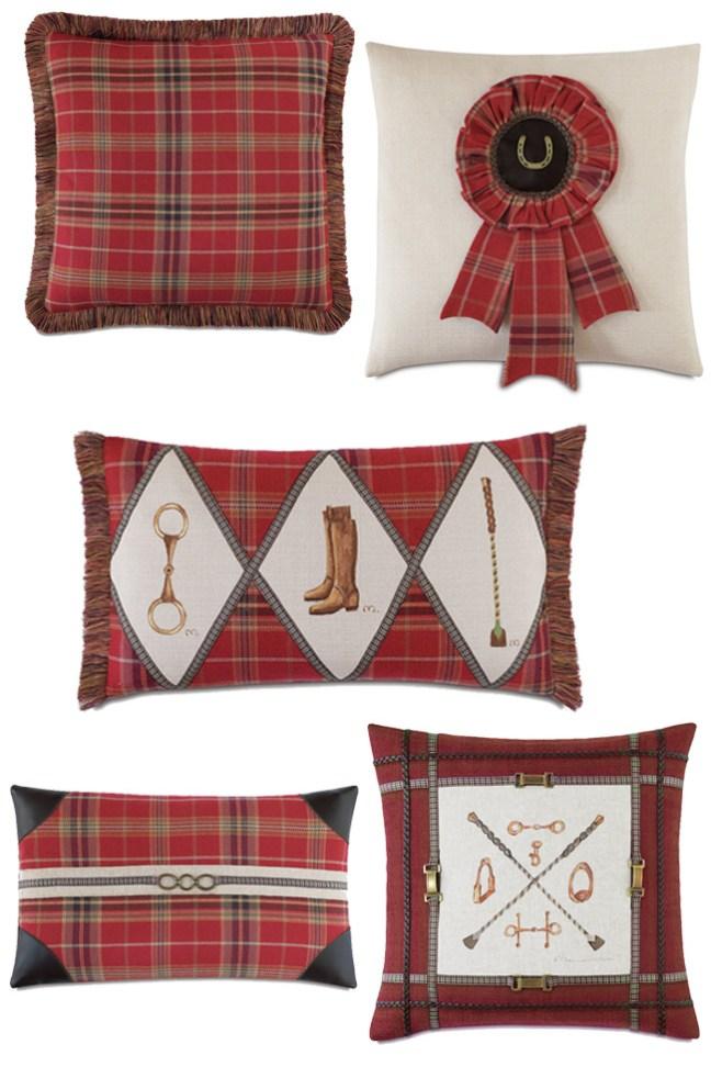 5 plaid equestrian pillows