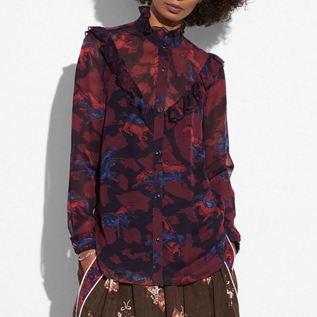 western horse print blouse
