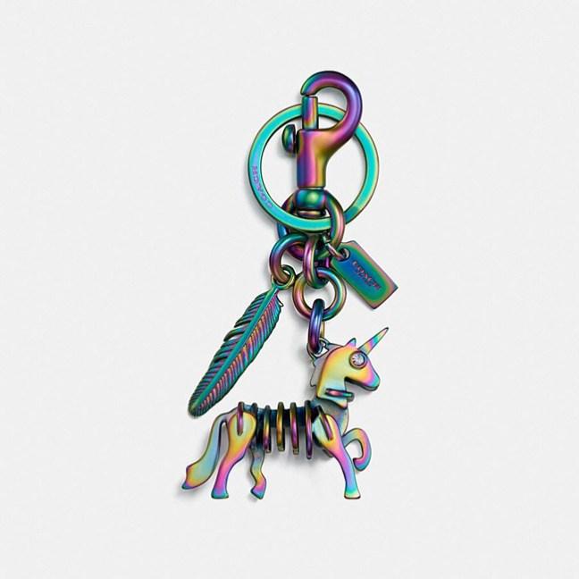 metal rainbow unicorn key ring
