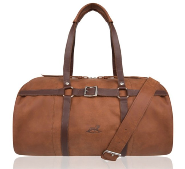 brown equestrian weekender bag by Adi Kissilevich