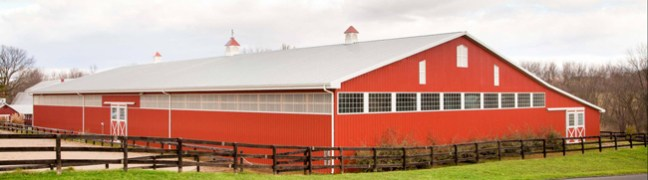gorgeous new red horse barn