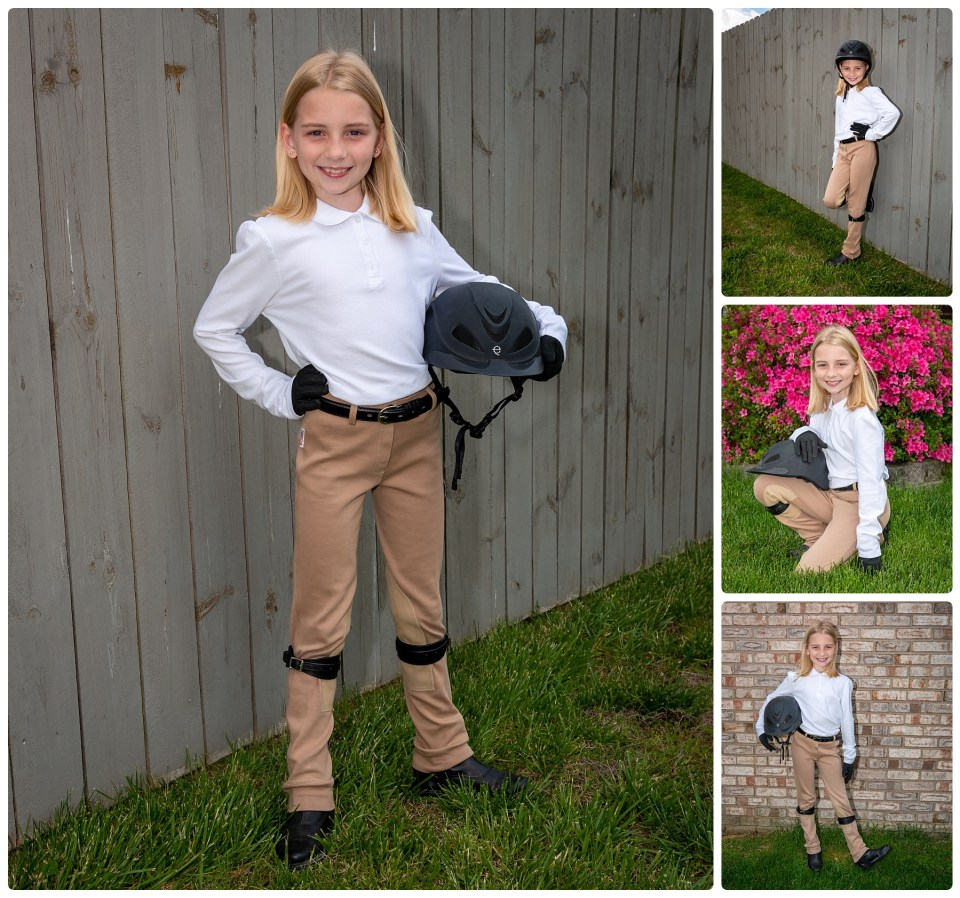 Girl poses in her horse riding outfit during her outdoor photography session.