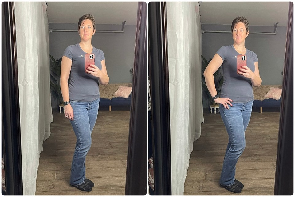 Stacey Marie demonstrates how to pose with your hand on your hip to create a slimming effect.