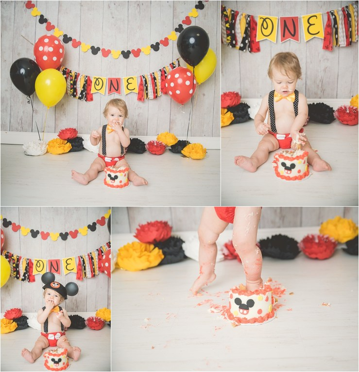 Mickey Mouse Smash Cake: Hayden 1 Year Mickey Mouse Cake Smash Utah Photographer