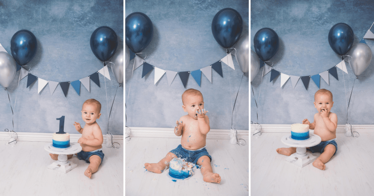 Blue Grey White Cake Smash Utah Photographer