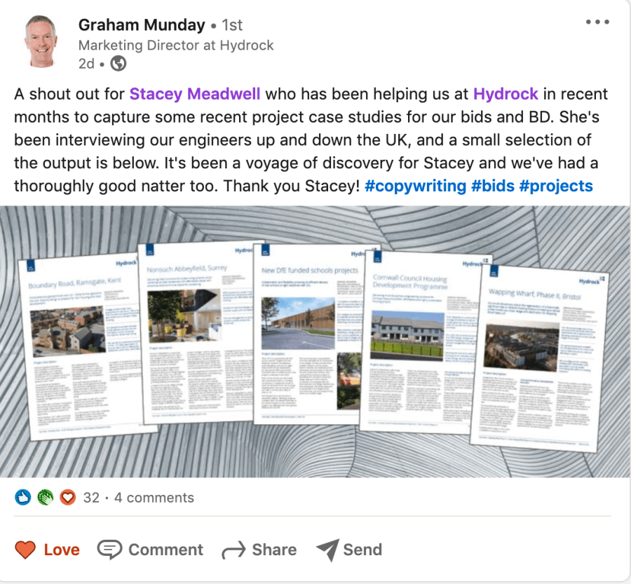 Screen shot of a 'shout out' post about the work I've done for Hydrock. It says I've been interviewing engineers up and down the company to capture recent projects for bids and business development.