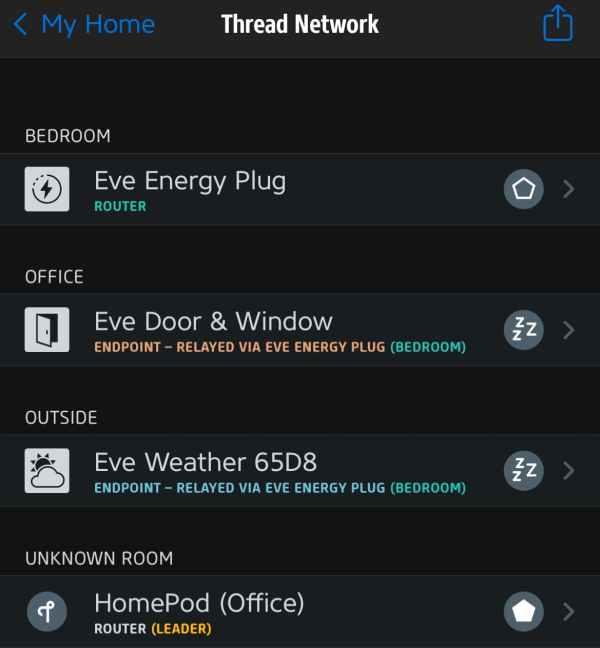 Eve app Thread network